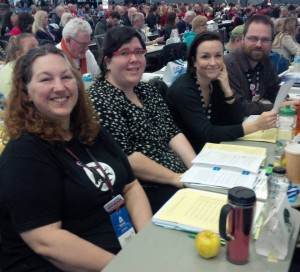 Four of our delegates: Cheryl DeWolfe, Karen Dykes, Sarah Harmer, Ted Godwin. Photo by Doug Sprenger.